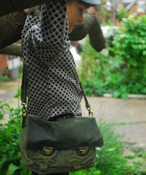 School Satchel: Fantastic little Classic! Hardwearing mix of textures in Canvas and Leather, Cute and Stylish