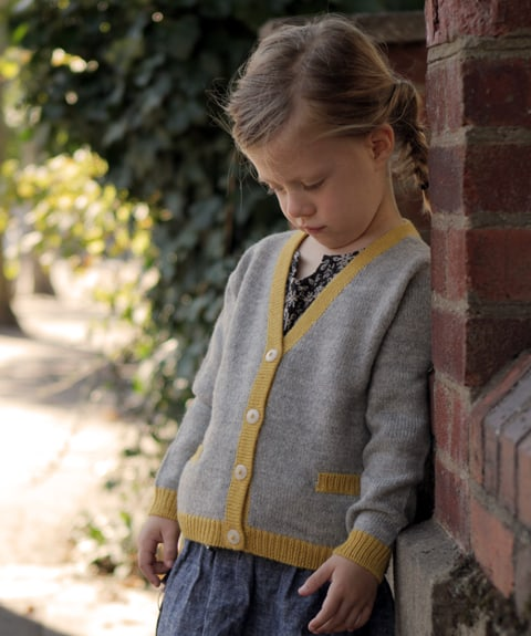 Petit Lucas Alpaca Cardigan: Classic Knit Cardigan with the twist of contrasting Borders and sweet little pockets