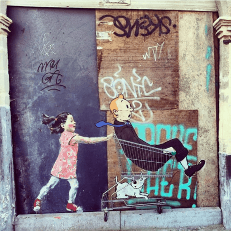 Tin Tin in the Street - Ernest Zacharevic