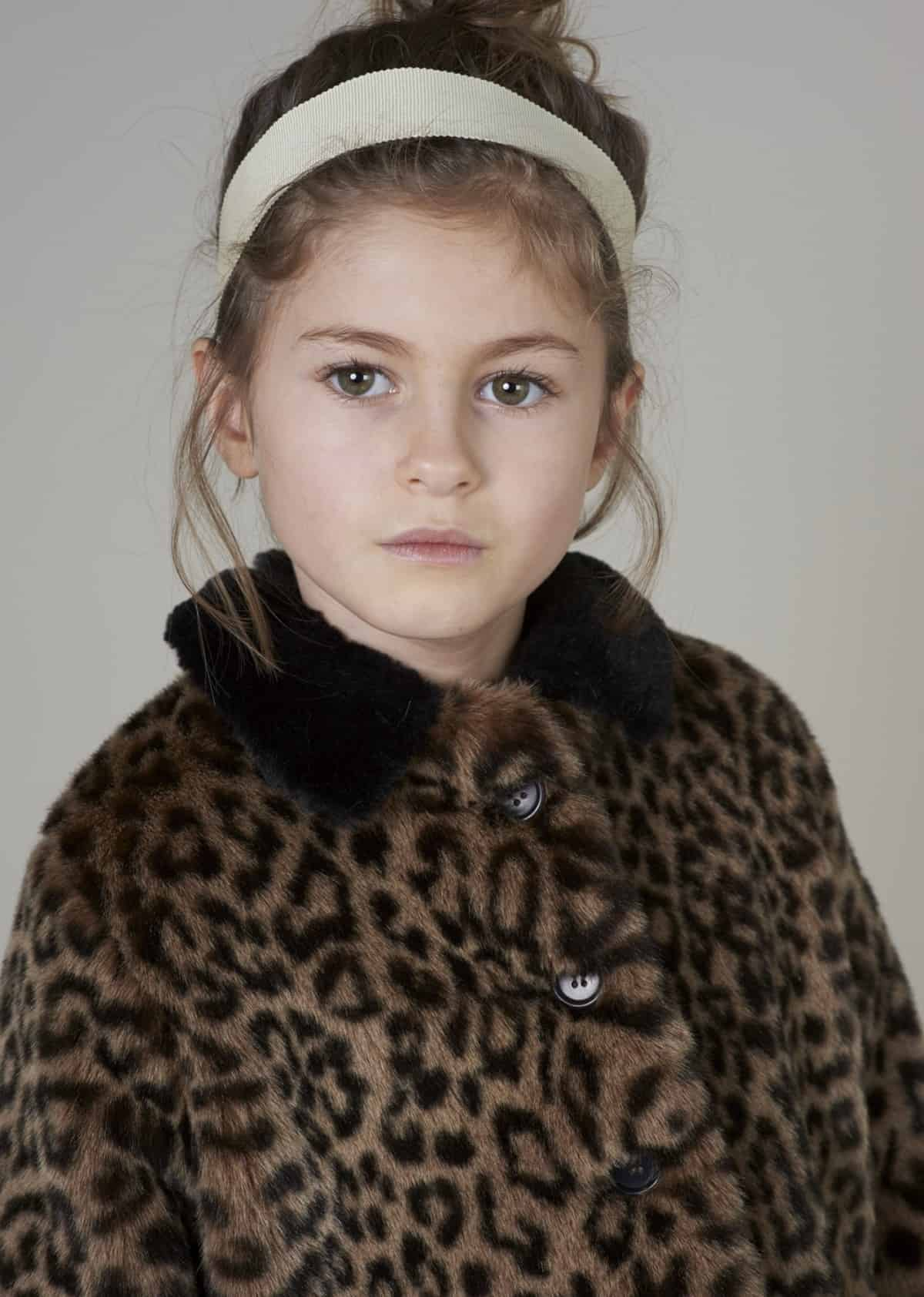 Faux fur kid's fashion picks : Caramel Bedford Coat Leopard Faux Fur