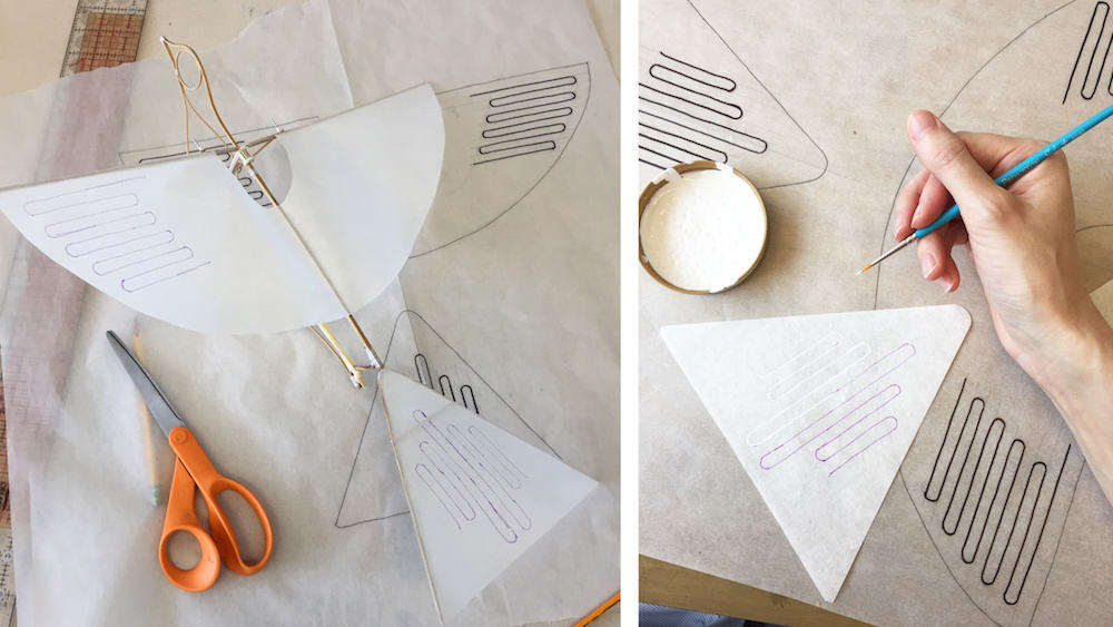 The Flying Martha by Haptic Lab. A flying pigeon toy powered by a rubber band