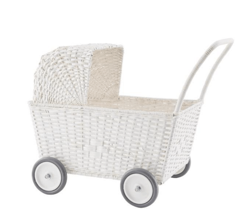 Olliella Strolly - White hand-woven rattan basket