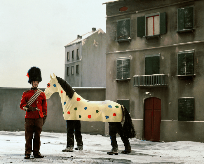 Paolo Ventura soldier and pantomime horse