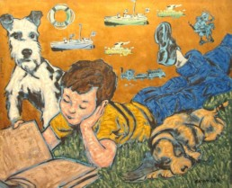 DavidBromley -painting -boy with a book