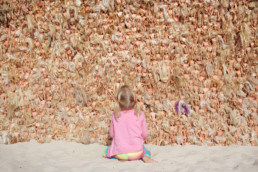 Giant wave comprising of hundreds of Barbie dolls. Installation by Belgian artist Annette on an Australian beach.