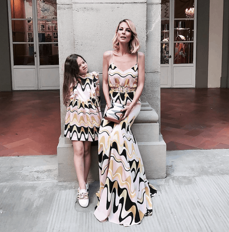 Roberta Ruiu & daughter Bibi in Emilio Pucci