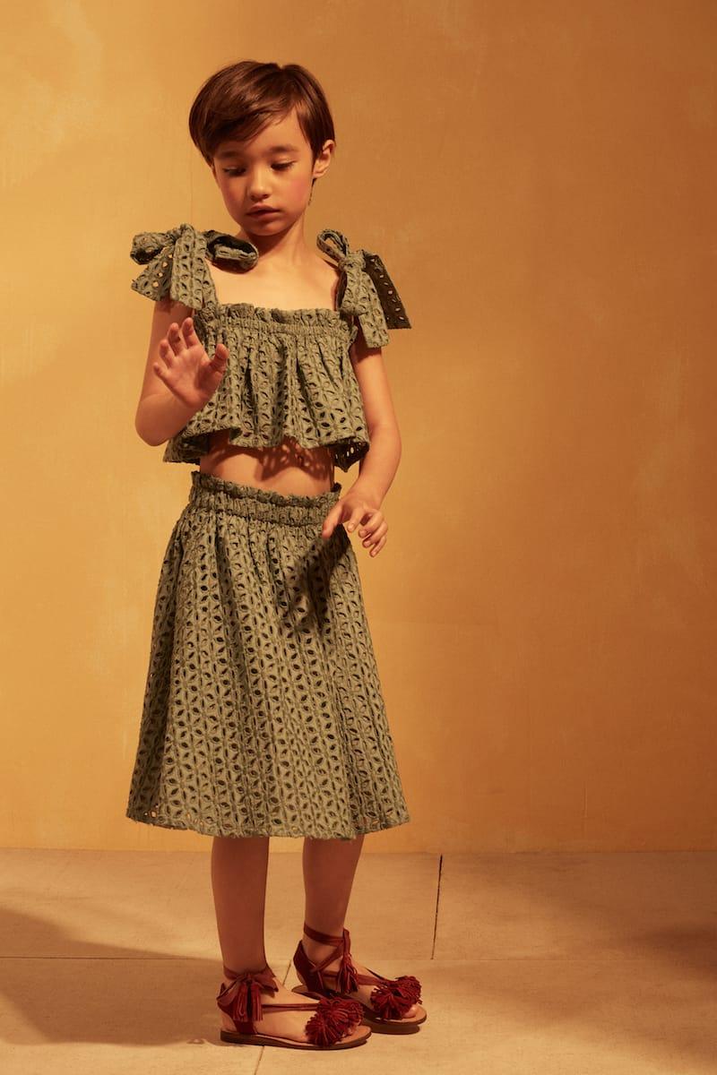 11114 - Tuchinda SS18 collection - Lulu Top - Iceberg Green - 14073 - Jordana Skirt - Iceberg Green - Lifestyle 3