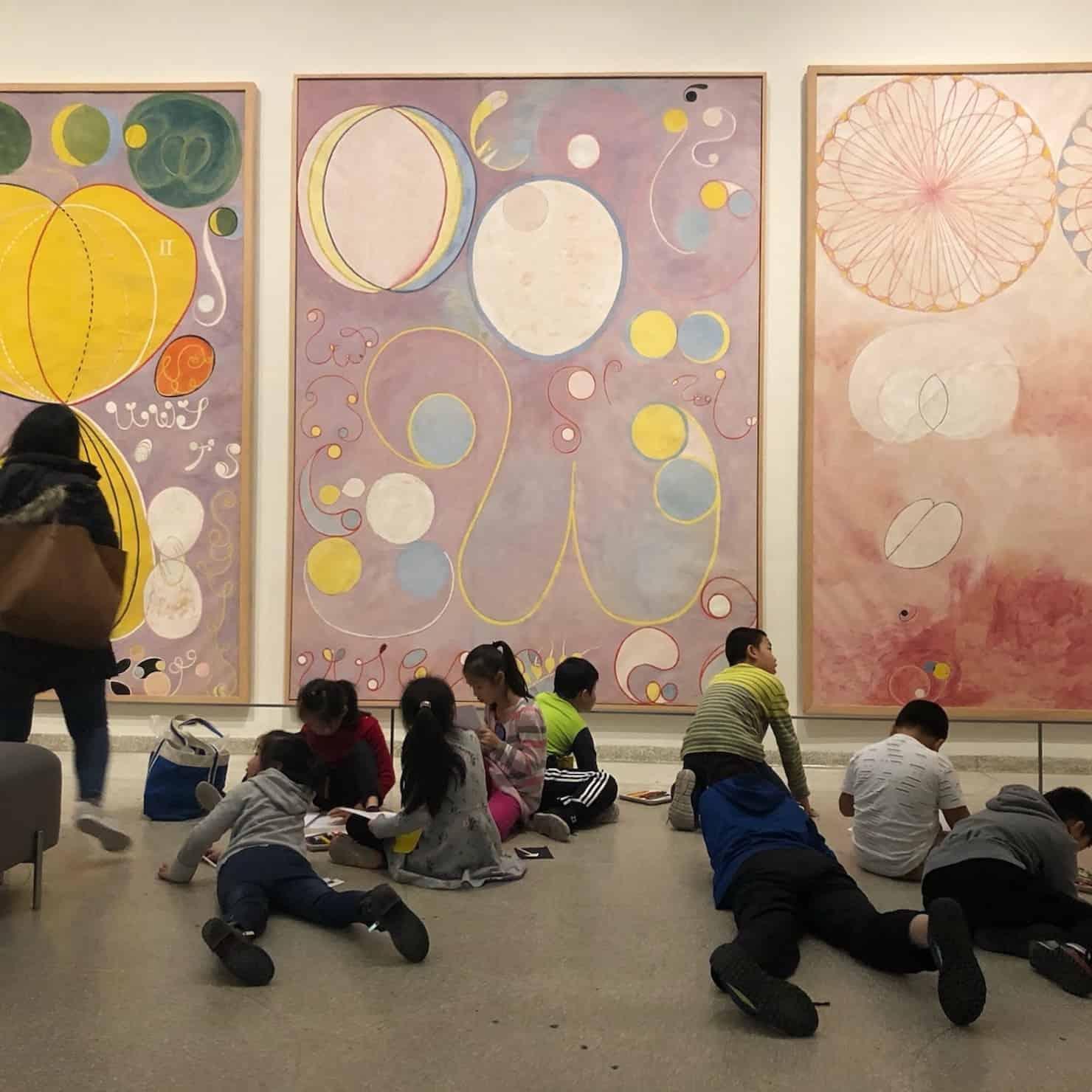 children at the Hilma ad Klint exhibition