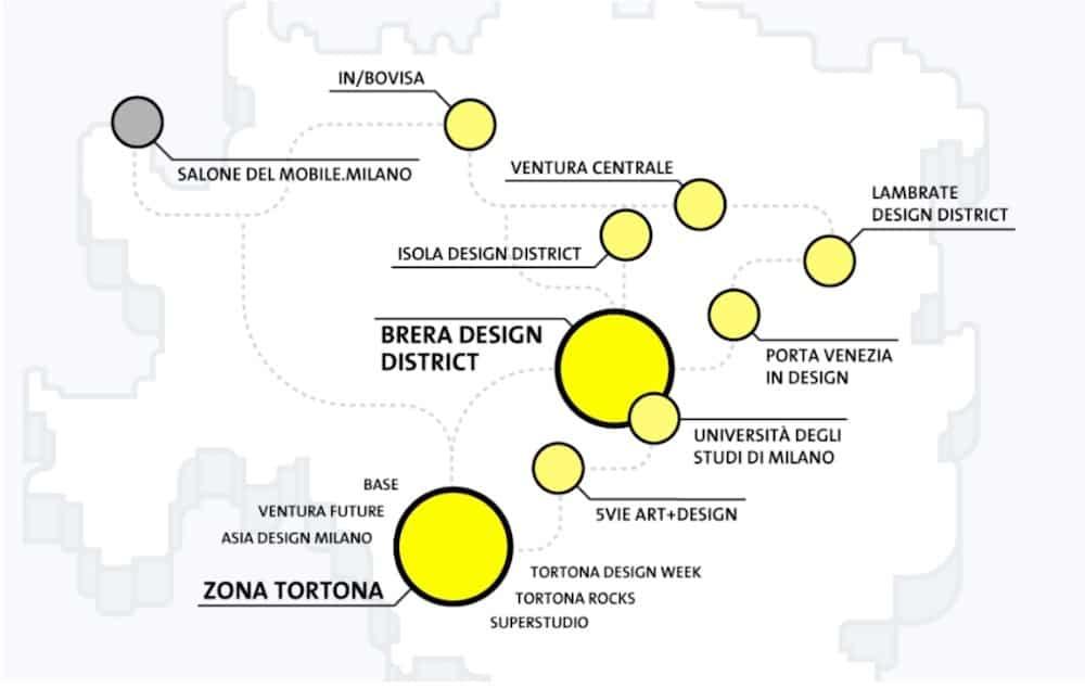 map Milan design week - districts