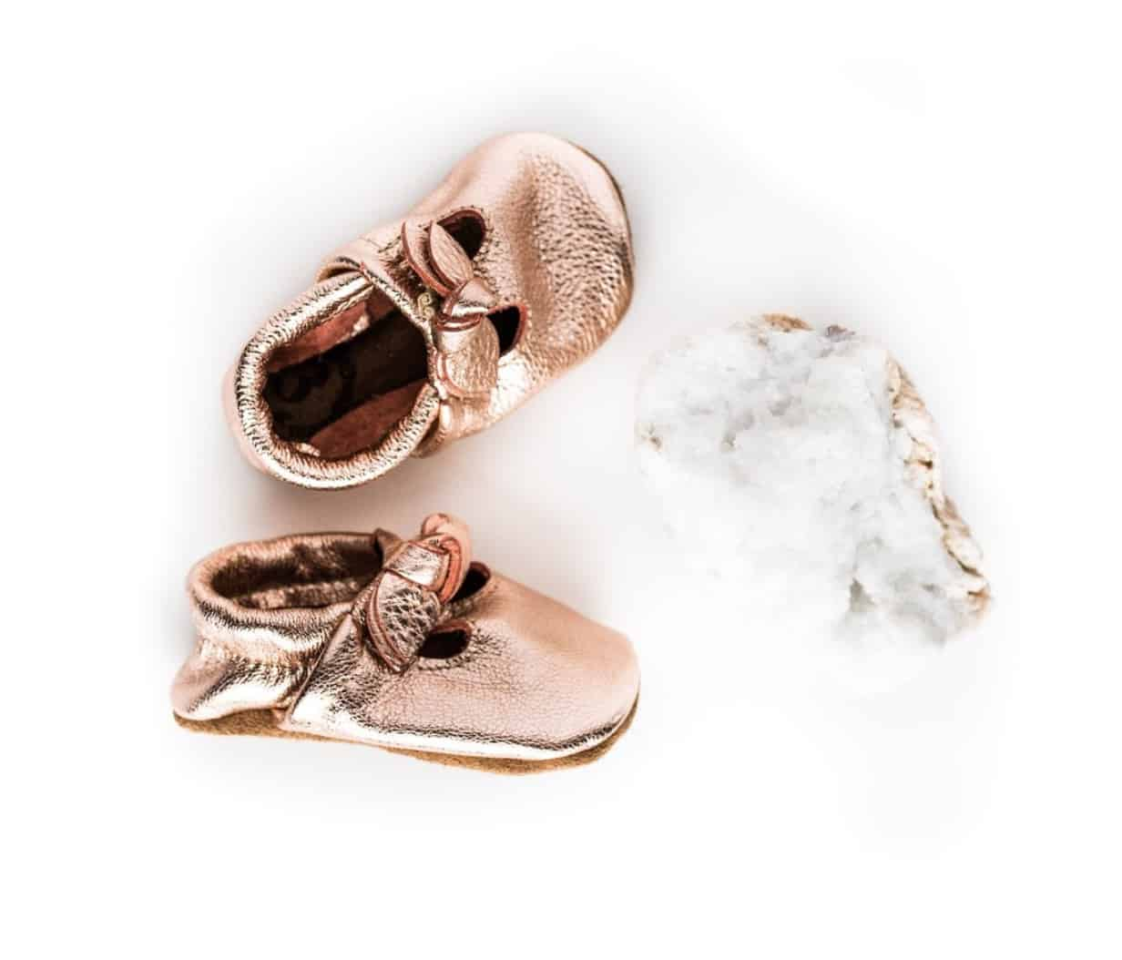 Sugarloaf Bow rose gold T-straps baby shoes